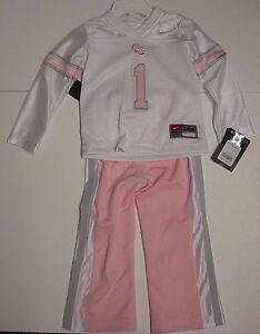 NEW Infant Girls NIKE OU Oklahoma Sooners 2 piece NCAA Pink Jersey Pants Set