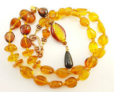 Genuine Amber Necklace with Art Glass Bead Pendant  J24A
