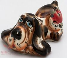 Porcelain Dog Basset Hound Figurine in Gzhel handmade symbol of 2018 New Year
