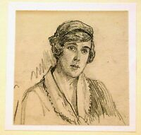 EDWARDIAN SMALL PORTRAITS LADY WITH HAIR BAND PENCIL HAROLD SPARKS C1910