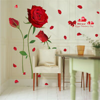 Romantic Red Rose Room Home Decor Removable Wall Stickers Decals Decorations