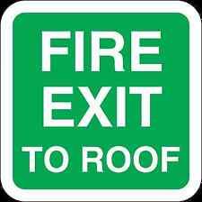 Santé et sécurité vert sécurité autocollant Fire Exit à toit autocollant