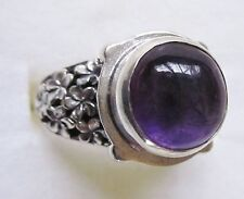 Amethyst & Sterling Silver Flower Ring, 925 Sterling Silver, size 6