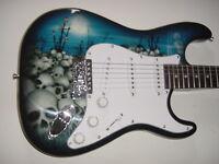 New Full Size 6 String Skulls Electric Guitar Strat Style Body w Gig Bag