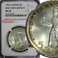 SWEDEN Silver 1962 U 5 Kronor NGC MS64 Toning 80th Birthday of Gustaf VI KM# 838
