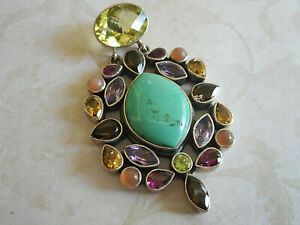 Gorgeous Nicky Butler Sterling Silver Turquoise Multi Stone Pendant  RE61C