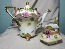 Vintage Hand Painted Japan Footed Teapot and Creamer Set- Gold Moriage/Embossing