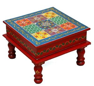Wooden Floral Painted Bajot Traditional Pooja Chowki Sitting Stool Coffee Table