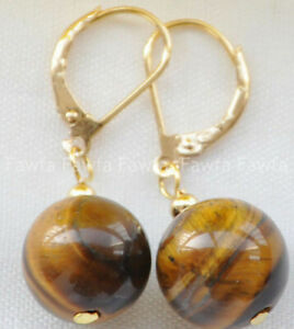 8-14mm Yellow Tigers Eye Round Gemstone Beads Golden Leverback Dangle Earrings
