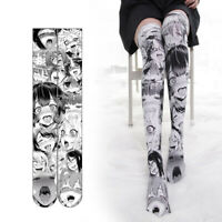 Anime Ahegao Printed Stockings Lolita Girls Gothic Velvet Overknee Tights Socks