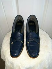 Selby Fifth Avenues Vig 1970 Navy Blue Leather Bow Loafer Low Heels sz 8A