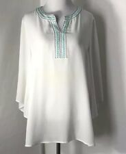 Women's ARIAT Peasant Style Blouse Size S White Embroidered V Neck