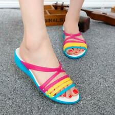 Hot Women Rainbow Jelly Slipper Sandals Casual Flat Beach Shoes Slides Peep Toe