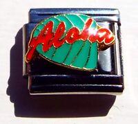 Aloha on green leaf enamel 9mm stainless steel italian charm bracelet link new