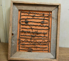 L453- Antique Framed Barb Wire Fence Display - 15 different examples