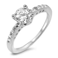 925 Sterling Silver Women's Engagement/Wedding Ring Solitaire Lab Diamond Ring