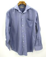 Peter Millar Blue Plaid 100% Cotton Button Up Dress Shirt Mens Large