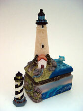 Trinket Box - Beige LIGHTHOUSE Dolphins on Square Base Resin