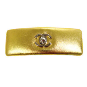 CHANEL CC Logos Hair Barrette Gold Leather France 62 Authentic AK35573i