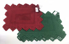 New listing 12 Lace Christmas Red & Green 100% Polyester Placemats 17.5� x 12.5�