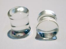 PAIR OF PYREX GLASS 4G 5MM CLEAR PLUGS BODY JEWELRY PLUG DOUBLE FLARED