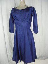 """Suzy Perette""Vtg 50s Royal  Blue Wrapped Wiggle 3/4 Sleeve Dress-Bust 38/M"
