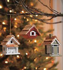 PLOW & HEARTH Set of 3 Wooden Birdhouse Ornaments - 2 Bird House + 1 Bird Feeder