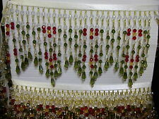 """5"""" MANGO BEADED FRINGE TRIM- EXCELLENT QUALITY Green, Red, Yellow, White"""