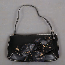 Celine AUTHENTIC Vintage black leather small bag  3 dimensional flower detail