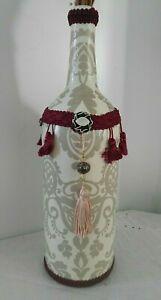 Hand Painted Wine Bottle Ivory Decoupaged Rose Floral Burgundy Gimp Embellished