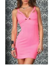 BLVD Collection Women's Pink Neon V-neck sleeveless  Bodycon Dress Size Small