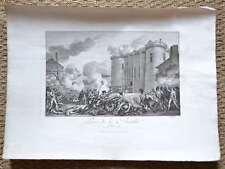Grande Gravure XVIIIème - Prise de la Bastille 14 juillet 1789 - Monnet - Helman
