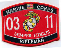USMC MARINE CORPS 0311 RIFLEMAN PATCH VETERAN MOS SEMPER FI GRUNT INFANTRY