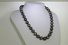 Genuine BLACK Tahitian SOUTH SEA 12mm Natural Pearl Necklace w 18k Diamond Clasp
