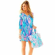 New Lilly Pulitzer Ali V-Neck T-Shirt Dress Bay Blue Out To Sea 3/4 XXS 2XS