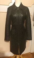 EXPRESS WOMEN QUILTED 100% LEATHER LONG COAT JACKET~ 3/4 S/SMALL~BLACK~GORGEOUS!