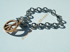 Bracelet 100% Acier Inoxydable + Or Peace And Love Mode