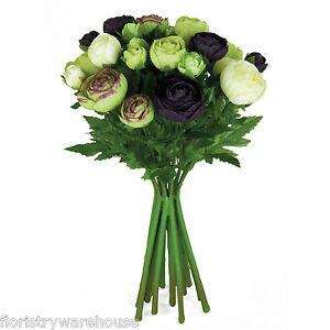 Artificiale seta Ranunculus fiore composizione melanzana verde & crema 15 steli