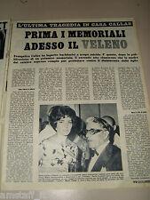 MARIA CALLAS cantante clipping ritaglio articolo foto photo 1962 VELENO