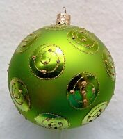 99  ONE PIECE CZECH GLASS ORNAMENT LARGE BALL LIME GREEN WITH GLITTER CIRCLES