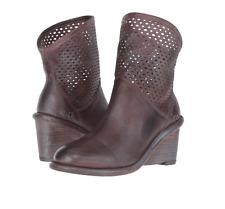 NIB $245 BED STU Dutchess Teak Rustic Blue Wedge Ankle Boots Womens 7 M