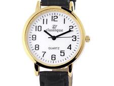 Armbanduhr Damen Classique Leder- Imitations-Armband schwarz Quarz Wristwatch