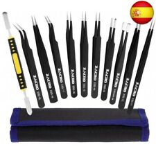 Zacro 11 Pcs Pinzas de Precisión, Tweezers ESD Anti-Estáticas de Acero I