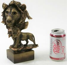Lion Bust Collectible Figurine Bust Handcrafted Faux Bronze Museum Quality Work