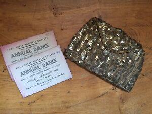 1930s Vintage Art Deco Gold Sequin & Glass Bead Evening Bag Purse Hand Made