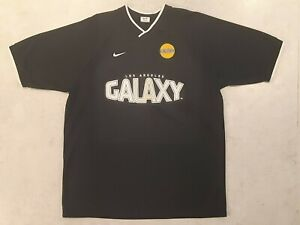 VTG LOS ANGELES GALAXY NIKE MEN'S SHIRT L RETRO SOCCER FOOTBALL 100% POLYESTER