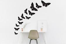 Butterfly Wall Stickers Black Set of 12 Different sizes - Mural Vinyl Stickers