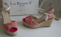 LK BENNETT Red White Platform Pumps,Heels,Sandals Size UK 4 EU 37 US 6.5 RP £160