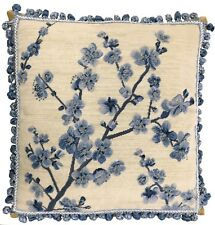 """20"""" x 20"""" Handmade Wool Needlepoint Blue Blooming Plums Pillow with Tassels"""