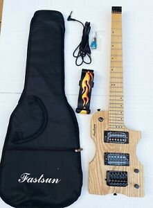 Electric travel headless guitar in natural color with Gigbag,strap, picks